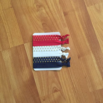4th of July themed Hair Ties / Elastic Hair Ties / Hair Ties / Fold Over Elastic / No Crease Hair Ties / Fourth of July / Star Hair Ties