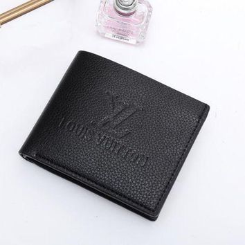 DCCK Louis Vuitton' Solid Color Simple Soft Leather Embossed Letter Short Section Fold Wallet Men Purse