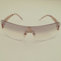 New Womens Vintage 90s Wrap Around Lightly Tinted Beige Lens Frameless Sunglasses Eye Glasses