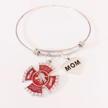Adjustable Bangle Charm Bracelet Firefighter Mom Fireman Red Maltese Cross Gift