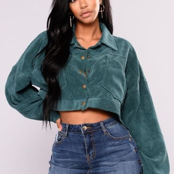 Analia Cropped Jacket   Dark Green