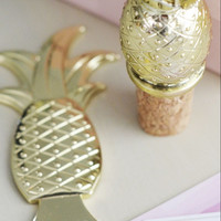 Gold Pineapple Bottle Stopper and Opener Gift Set (Blush and Gold)