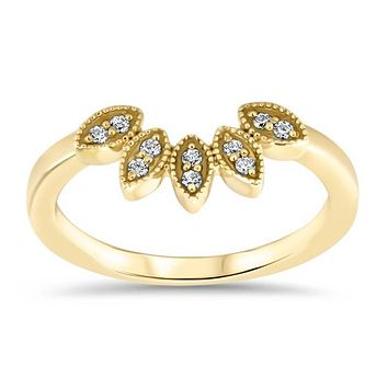 Marquise Shaped Peacock Style Diamond Wedding Band Curved Diamond Band Stacking Band - Pia