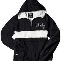 Black and White Monogrammed Striped Personalized Half Zip Rain Jacket Pullover by Charles River Apparel
