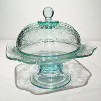 Madrid Recollection Teal Pedestal Butter Keeper or Cheese Dish Lid, Indiana Glass Aqua Madrid Butter Dish Butter Crock French Butter Dish