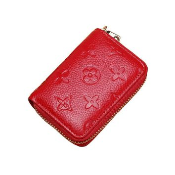Women RFID Blocking Credit Card Holder Leather Small Cute Wallet Multi Zipper Purse