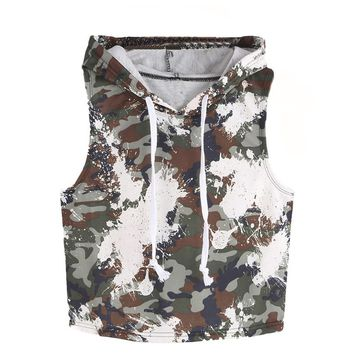 Tank Top Women 2017 New Summer Sleeveless Fashion Sexy Camouflage Hooded Crop Female Tops  Size Vest Ladies Clothing #HS4930