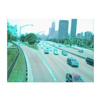 Chicago Traffic in Colored Foil Canvas Print