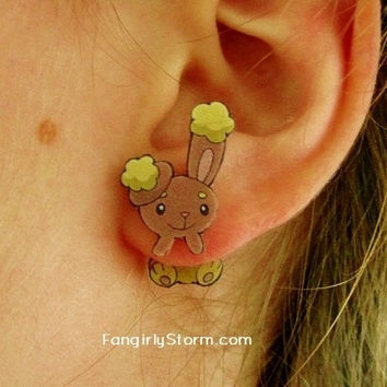 Buneary Pokemon Clinging earrings Handmade kawaii gamer two part front and back post earrings