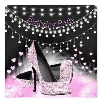 Hearts Pink High Heels Birthday Chalkboard Lights 5.25x5.25 Square Paper Invitation Card