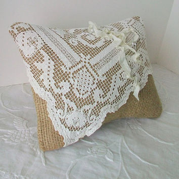 Ring Bearer Pillow Upcycled Burlap and Lace Vintage Inspired Wedding