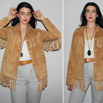 Vintage 90s FRINGE Jacket / Camel Brown Suede Jacket / Buttery Soft Leather / Boho, Western, Hippie, Groovy, Psych, Cowgirl / Medium