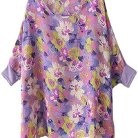 Purple Batwing Sleeve Floral Print Blouse