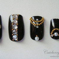 3D Bling Fake Nail Set  Black with Crystal by CuteberryBoutique