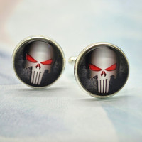 Punisher Cufflinks Mens Cuff Links , Fashion Brass Superhero The Punisher Logo Design Skull Cufflinks (XK1)