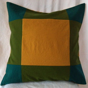 """Olive Green, Teal and Gold Color Block Pillow Cover  -- Linen Blend -- Envelope Closure -- 20"""" x 20"""""""