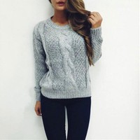 Women'S Round Neck Long-Sleeved Knitted Sweater