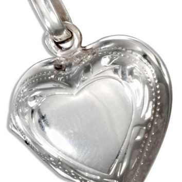 Sterling Silver High Polish Heart Locket With Etched Border