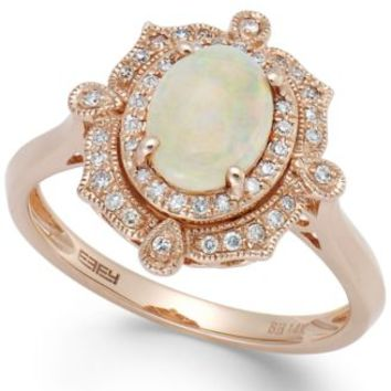 Aurora by EFFY Opal (5/8 ct. t.w.) and Diamond (1/6 ct. t.w.) Oval Ring in 14k Rose Gold | macys.com