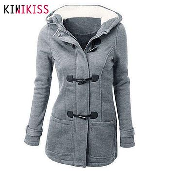 Women's Spring Autumn Trench Coat Long Overcoat Female Hooded Coat Zipper Horn Button Outwear 2017