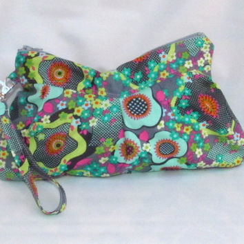 Clutch with Wristlet Strap Peace Flowers in Mist Amy Butler Fabric