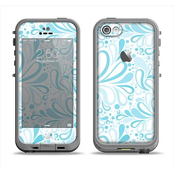 The Light Blue Droplet Sprout Pattern Apple iPhone 5c LifeProof Fre Case Skin Set