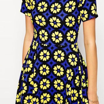 Blue And Yellow Floral Print Short-Sleeve Skater Dress
