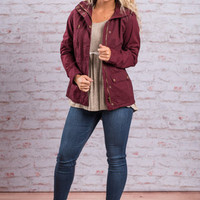 Fight For Love Jacket, Burgundy