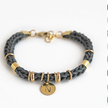 Personalized bracelet with initial charm, initial bracelet, knit rope bracelet, gift for her