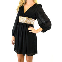 Grenadine Black & Gold Party Dress