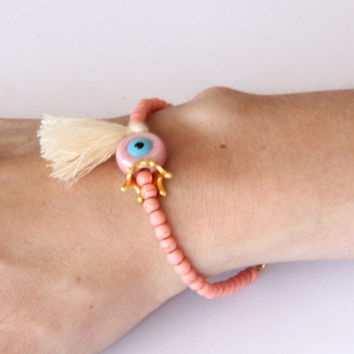 Pink Evil Eye Pink Chaoliti Beads Bracelet - Ivory Tassel Bracelet - Gold Plated Crown Charm - Chaoliti Gemstone Bridesmaid Gift - Bridal
