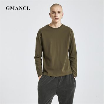 Men kanye West Style Solid Color Classic Casual T Shirts Loose 100% Cotton Hip hop Streetwear Oversized Long sleeves O-neck Tee