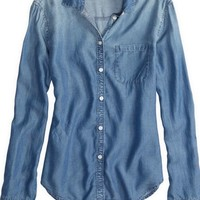 AEO Factory Women's Chambray Shirt (Dark Wash)