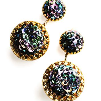 Gold and Green Circle Drop Earrings