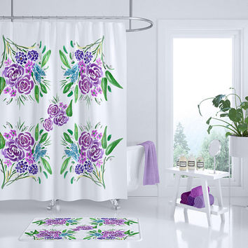 Floral Shower curtain,  purple bouquets of fresh cut flowers, bold floral, bathroom, modern home, decor