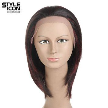 LMFG8W Styleicon Brazilian Virgin Hair Lace Front Human Hair Wigs For Women Color F1b/99J 10 Inch Short Wigs Free Shipping