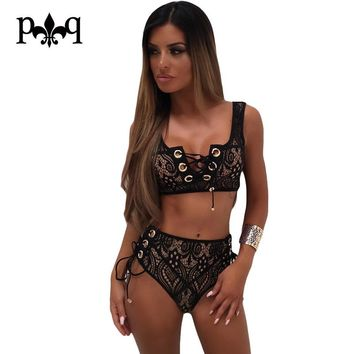 Hilove Women Bodysuits Summer Black White Lace Playsuits Two Piece Lace Up Sexy Bodysuit Beach Wear Bandage Skinny Short Rompers