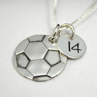 Soccer Ball Necklace for Mom or Player | Hand Stamped Soccer Necklace