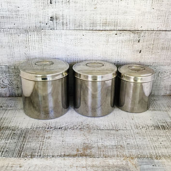 Canister Set 3 Stainless Steel Canisters Kitchen Metal Canister Set Nesting Tins Lidded Containers Vintage Storage Retro Kitchen Decor