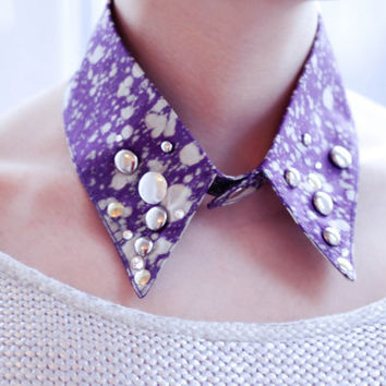 Purple silver sequin collar