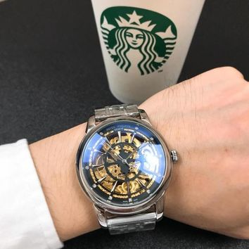 DCCK P008 Patek Philippe Geneve Automatic Machinery Hollow Steel Strap Watches Sliver Black Gold