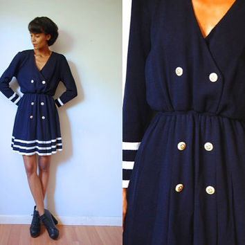 Vtg St John Knit Navy & White Stripes V Neck Pleated Dress