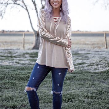 Sequin Sleeve Lace Up Hoodie