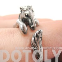 Miniature Horse Animal Hug Wrap Ring in Silver - Sizes 4 to 9