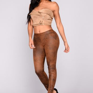 Sahar Burnout Suede Leggings  - Tan/Black