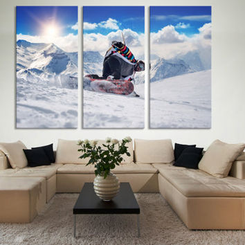 Snowboard Wall Art / Winter Mountain Wall Art / Winter Sport Snowboard Print French Alp Mountain Wall Art / Snow Winter Photography Wall Art