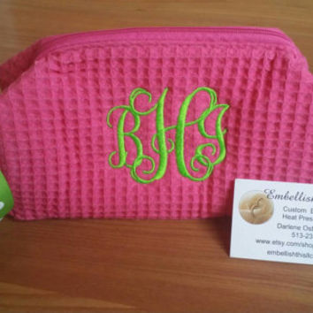 PINK MONOGRAMMED Cosmetic Bag SMALL 1  zippered compartment  spa waffle Weave bag  ,Sorority sisters, big,  bridesmaid, best friends gifts