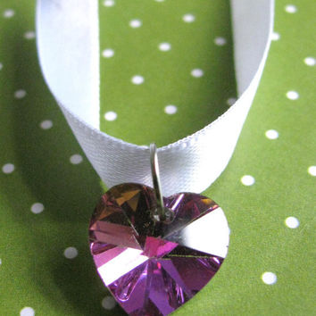 Purple & pink  Swarovski  Heart necklace by Stargazer02 on Etsy