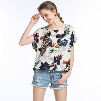 Fashion Casual Print Round Neck Short Sleeve Women's T-shirt Tops