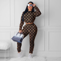 Louis Vuitton Women Fashion Long Sleeve Top Pants Set Two-Piece
